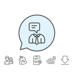 Human talking line icon conversation sign vector