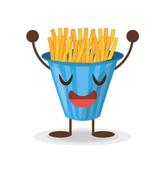 kawaii french fries fast food vector image