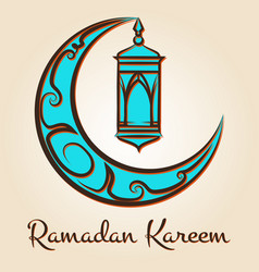 Moon and lamp ramadan kareem emblem vector