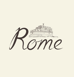 rome city background landmark lettering travel vector image vector image