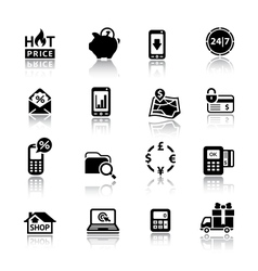 Shopping Icons black vector image vector image