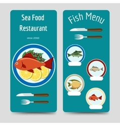 Fish menu flyers template vector image vector image