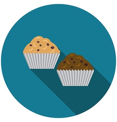 Flat design muffins icon with long shadow isolated vector image