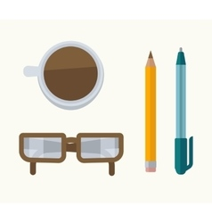 Glasses coffee pen and pencil vector image vector image