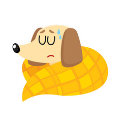 sick baby badger dog having flu fever sleeping vector image vector image