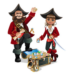 Treasures chest and pirates vector