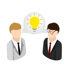 Two businessmen get idea icon isometric 3d style vector image vector image