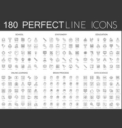 180 modern thin line icons set of school vector