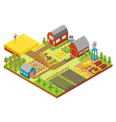3d isometric rural farm with mill garden vector image