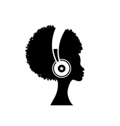 Afro girl listens to music on headphones vector