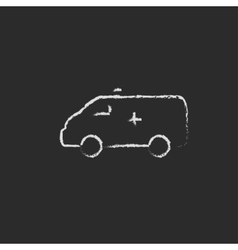 Ambulance car icon drawn in chalk vector image