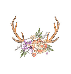 antlers with flowers and plants hand drawn floral vector image