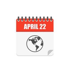 April 22 earth day calendar with planet icon in vector