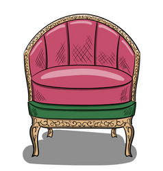 Armchair in the style of art nouveau with lilac vector