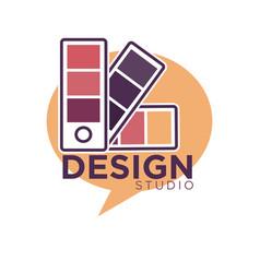 art design studio emblem with color palettes vector image