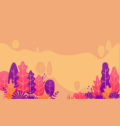 autumn forest leaves fall flat design vector image