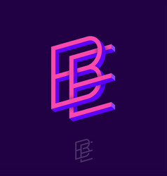 B e letters monogram crossed impossible shapes vector