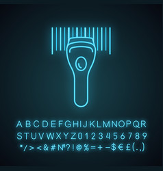 Barcode scanning neon light icon vector