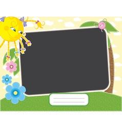 Basummer frame with fun sun contains clipping m vector
