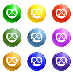 bavarian pretzel icons set vector image