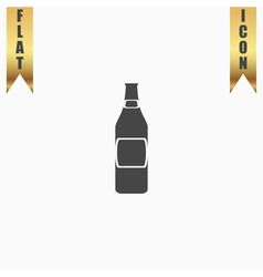 Beer bottle flat icon vector