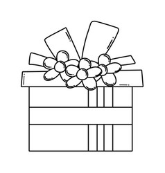 Birthday giftbox cartoon in black and white vector