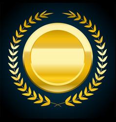 Blank gold token of award vector