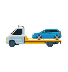 Blue car transporting on tow truck roadside vector