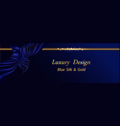 blue silk luxury background deep blue ribbon with vector image