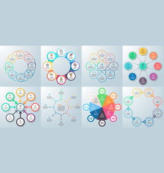Business infographics diagrams with 8 steps vector