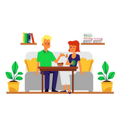 cartoon couple at romantic home dinner date vector image
