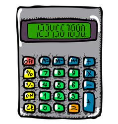 Cartoon image of calculator mathematics symbol vector