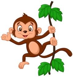 Cartoon monkey hanging in tree vector