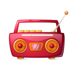 Cartoon red radio music icon vector