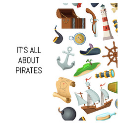 cartoon sea pirates background with place vector image
