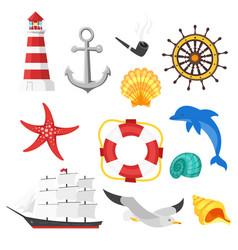 Cartoon style set of sea objects vector