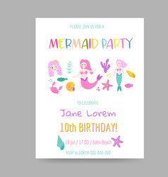 Childish birthday invitation template with mermaid vector