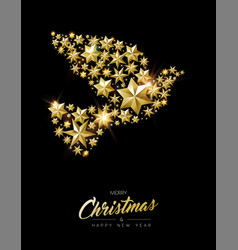 christmas and new year gold star peace dove card vector image