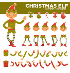 Christmas elf character constructor with body vector