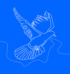 continuous one line drawing bird flying vector image
