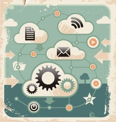 Creative concept of cloud computing connections vector