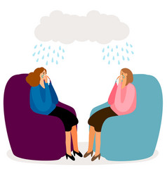 crying women depressed girls concept vector image
