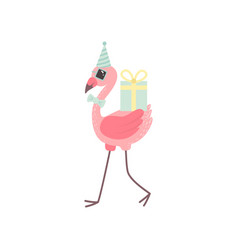 cute flamingo wearing party hat and bow tie vector image
