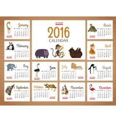 Desk calendar print template with zoo vector