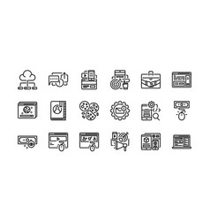 Digital marketing outline icons set 1 vector