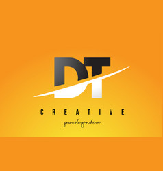 Dt d t letter modern logo design with yellow vector
