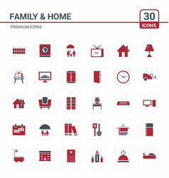 family and home red icons vector image