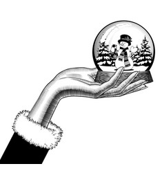 female hand holding a snow globe with a snowman vector image