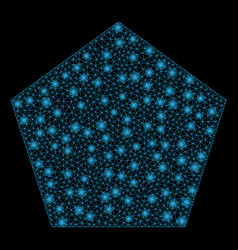 Flare mesh network filled pentagon with flare vector