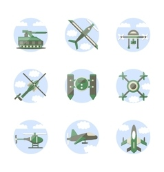 Flat color style military robots icons vector image